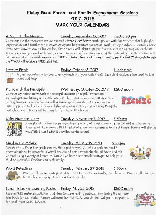 2017 2018 Finley Road Parent And Family Engagement Sessions