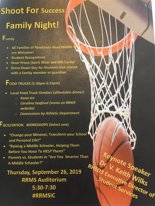 SIC Parent Night, September 26th, 5:30pm