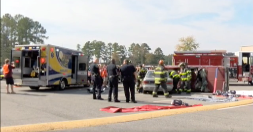 It was just a drill, but emergency responders hope a realistic car accident scenario will help educate students.