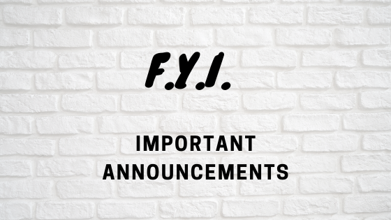 Announcements For Students/Families